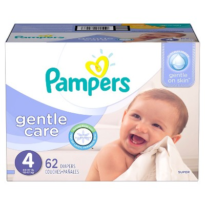 Pampers Gentle Care Diapers, Super Pack - Size 4 (62 ct)