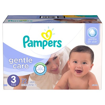 Pampers Gentle Care Diapers, Super Pack - Size 3 (72 ct)