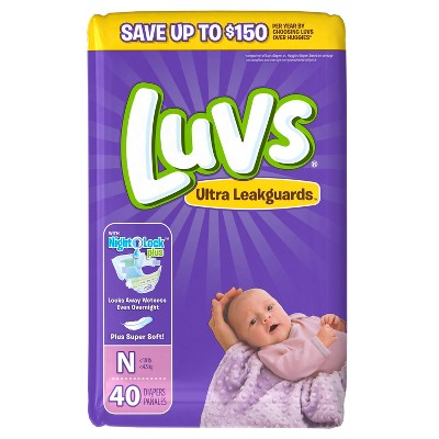 Luvs Baby Diapers Jumbo Pack Size Newborn (40 ct)