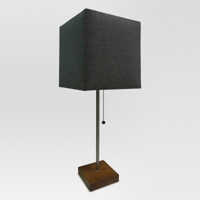 Square Shade Stick Lamp With Wood Base   Project 62™