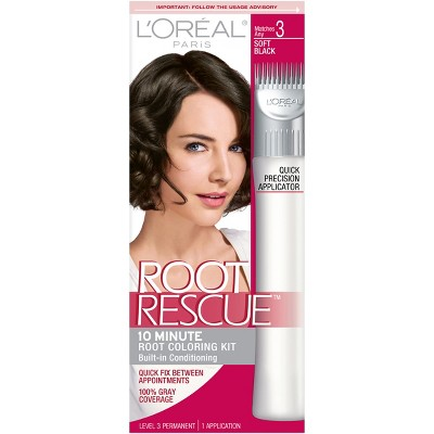 Root Rescue permanent gray coverage & root touch up that matches seamlessly to your hair color in just 10 minutes with a low ammonia formula by L'Oréal Paris. Stay Connected. Sign up to receive beauty news, product samples, coupons and more. Please enter a valid e-mail address.