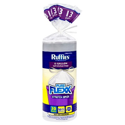 Ruffies Pure Flexx Tall Kitchen Drawstring Trash Bags - 13 Gallon - 30ct