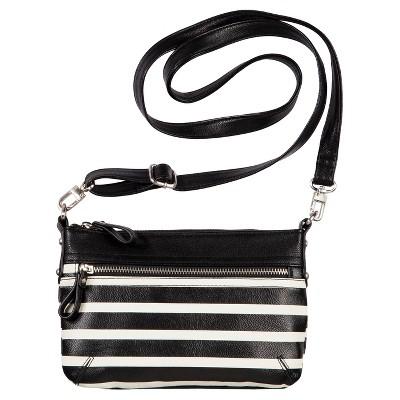 Women's Mini Crossbody Faux Leather Handbag Black/White - Merona™