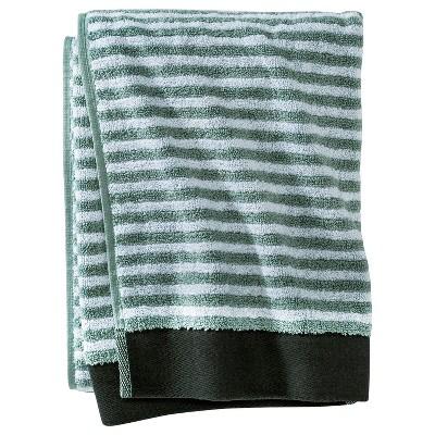 Pinstripe Bath Towel Gray Aqua - Nate Berkus™