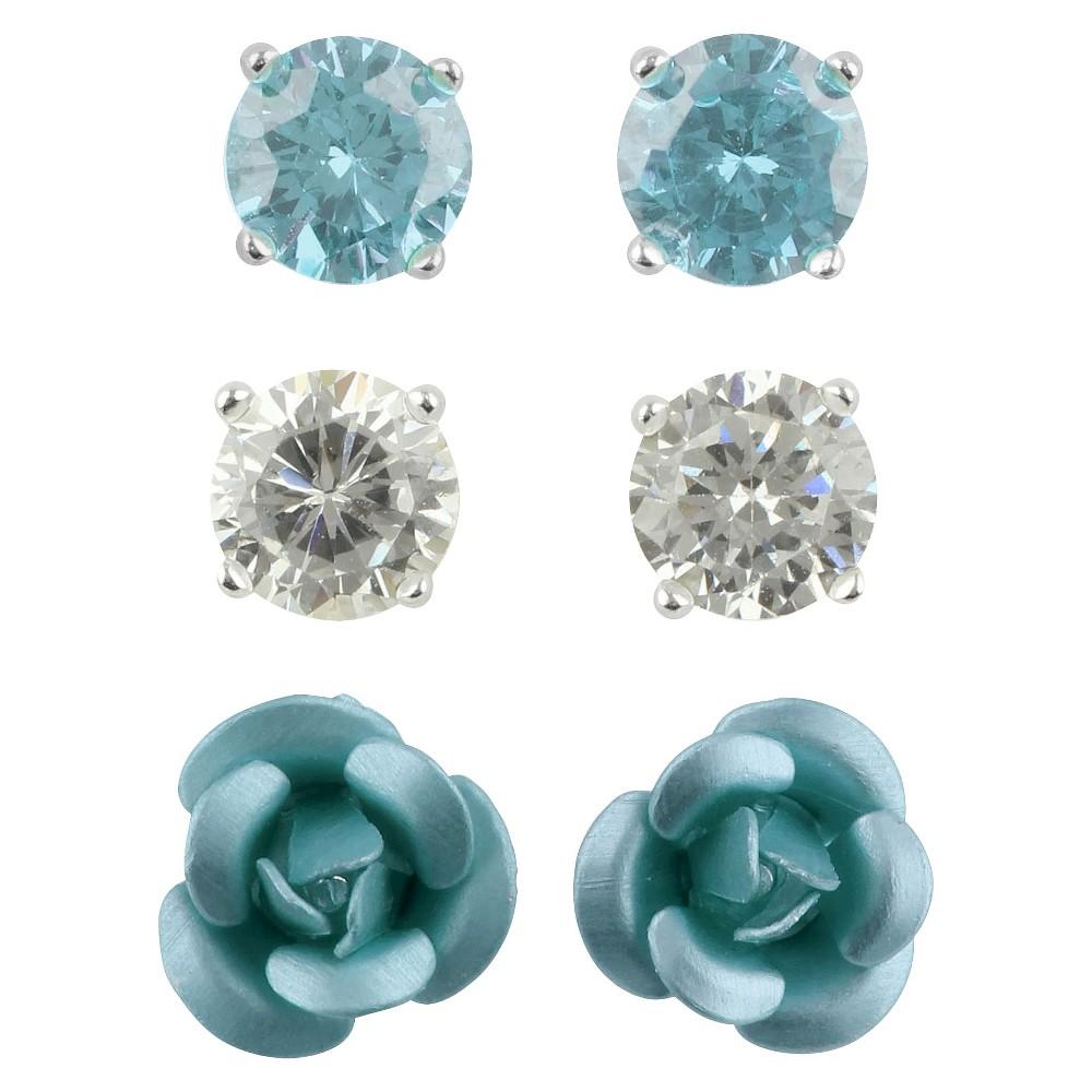 Cubic Zirconia Studs and Flower Earrings Set of 3 - Aqua, Womens, Silver