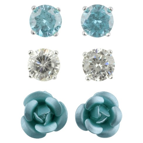 Cubic Zirconia Studs and Flower Earrings Set of 3 - Aqua - image 1 of 1
