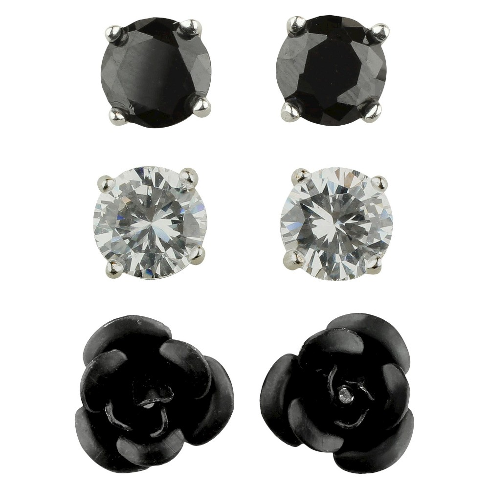 Cubic Zirconia Studs and Flower Earrings Set of 3 - Black, Womens, Silver