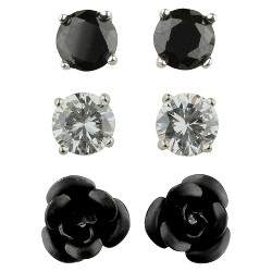 Cubic Zirconia Studs and Flower Earrings Set of 3 - Black