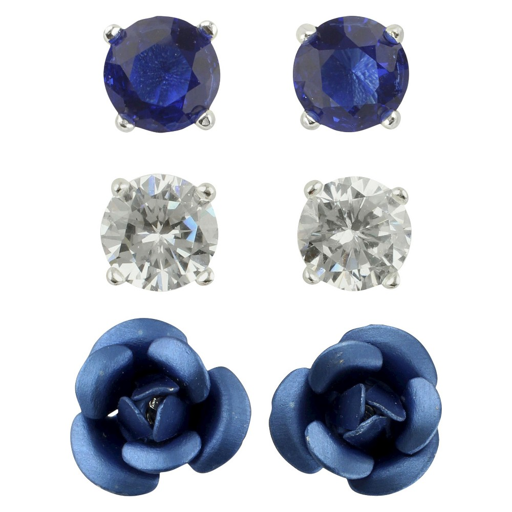Cubic Zirconia Studs and Flower Earrings Set of 3 - Blue, Womens, Silver