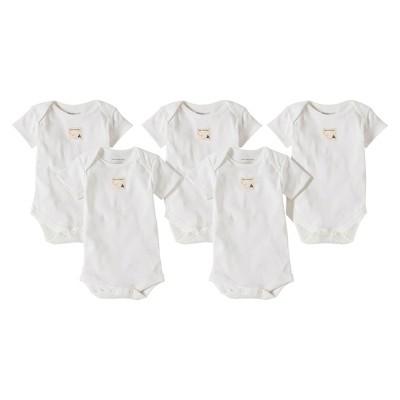 Burts Bees Baby™ Newborn 5 Pack Short Sleeve Bodysuits - Cloud 24 M