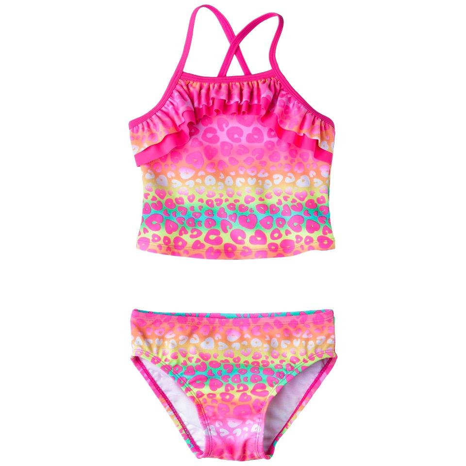 Circo Infant Toddler Girls 2 Piece Cheetah Tankini Swimsuit Set   Pink 4T