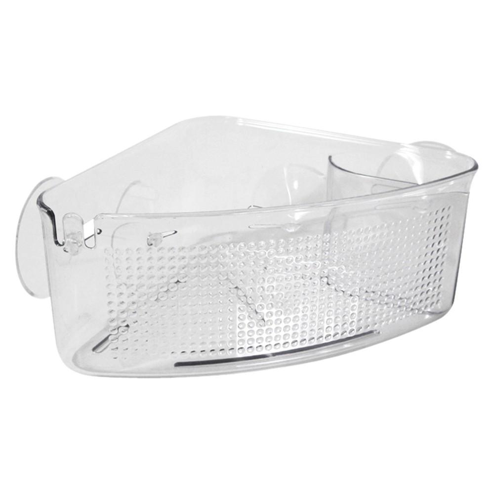 Corner Suction Shower Caddy Clear InterDesign