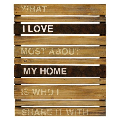 Home Wood and Metal Planks Wall Hanging
