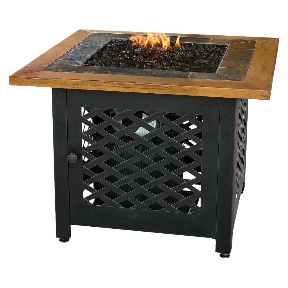 Blue Rhino Uniflame Square Slate Tile and Faux Wood Propa...