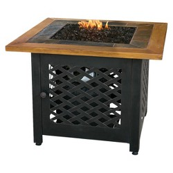 Uniflame Square Slate Tile and Faux Wood Propane Fire Pit