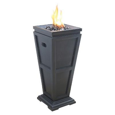 Uniflame Medium 28  LP Gas Fire Column with Black Fire Glass