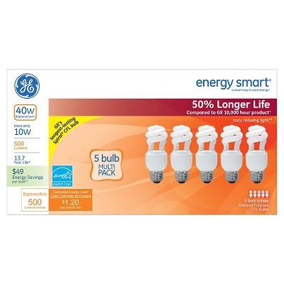 GE 40-Watt CFL Light Bulb (5-Pack)- Soft White