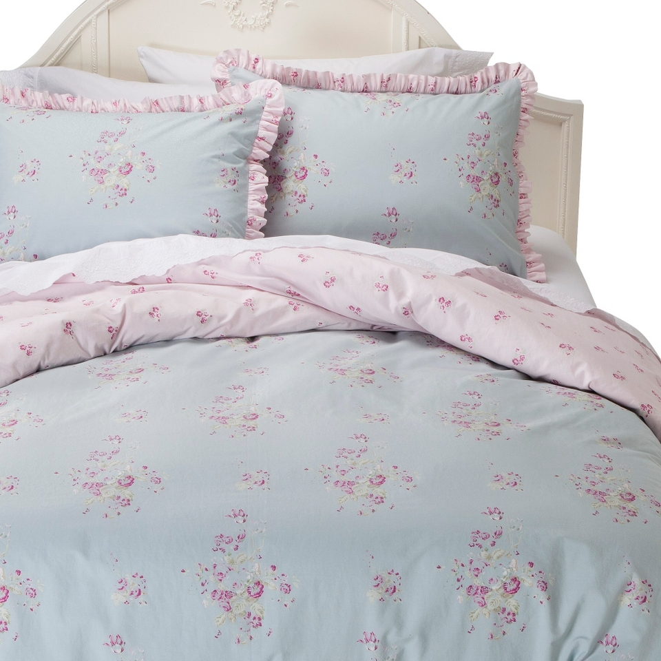 Simply Shabby Chic Faded Paper Rose Duvet Cover Cover Set   Blue (Full/Queen)
