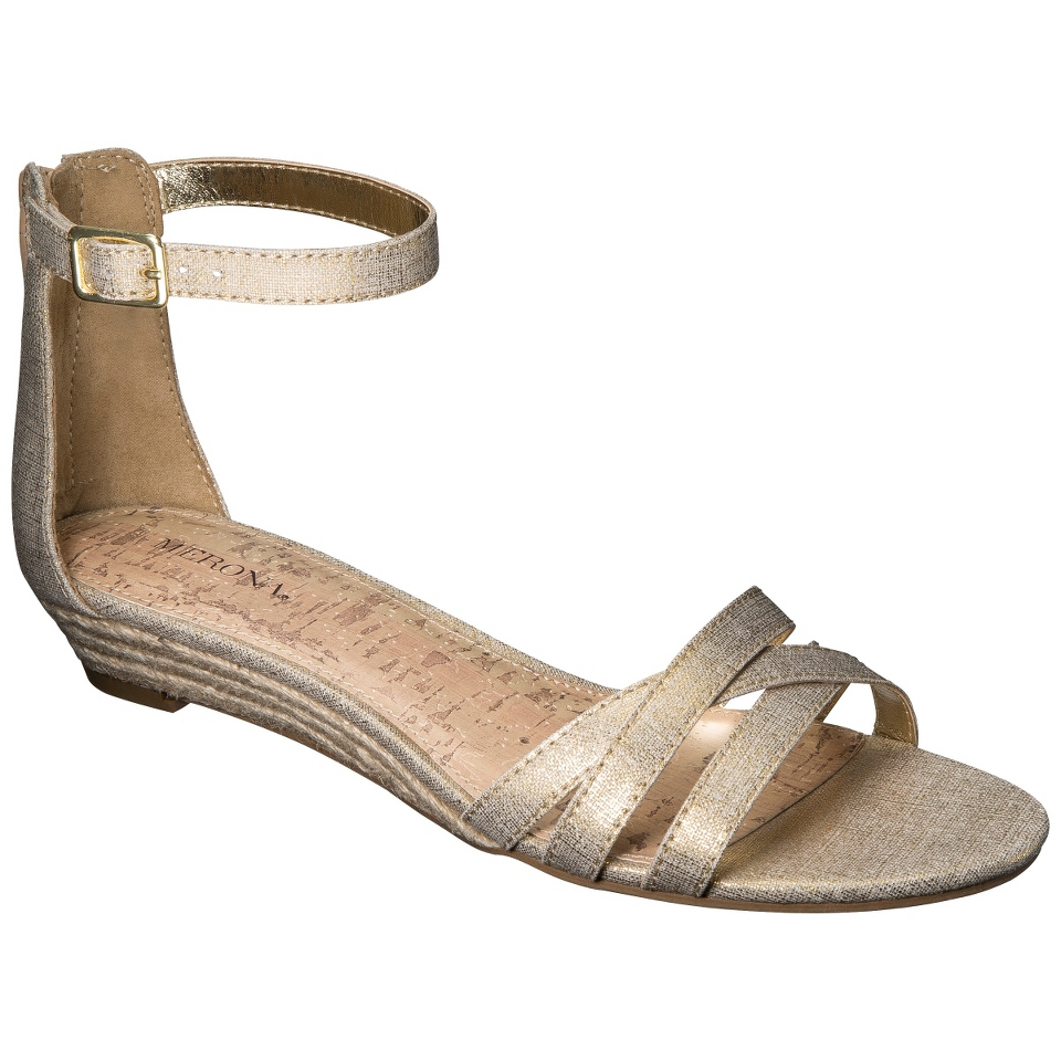 Womens Merona Tori Ankle Strap Wedge Sandal   Gold 10