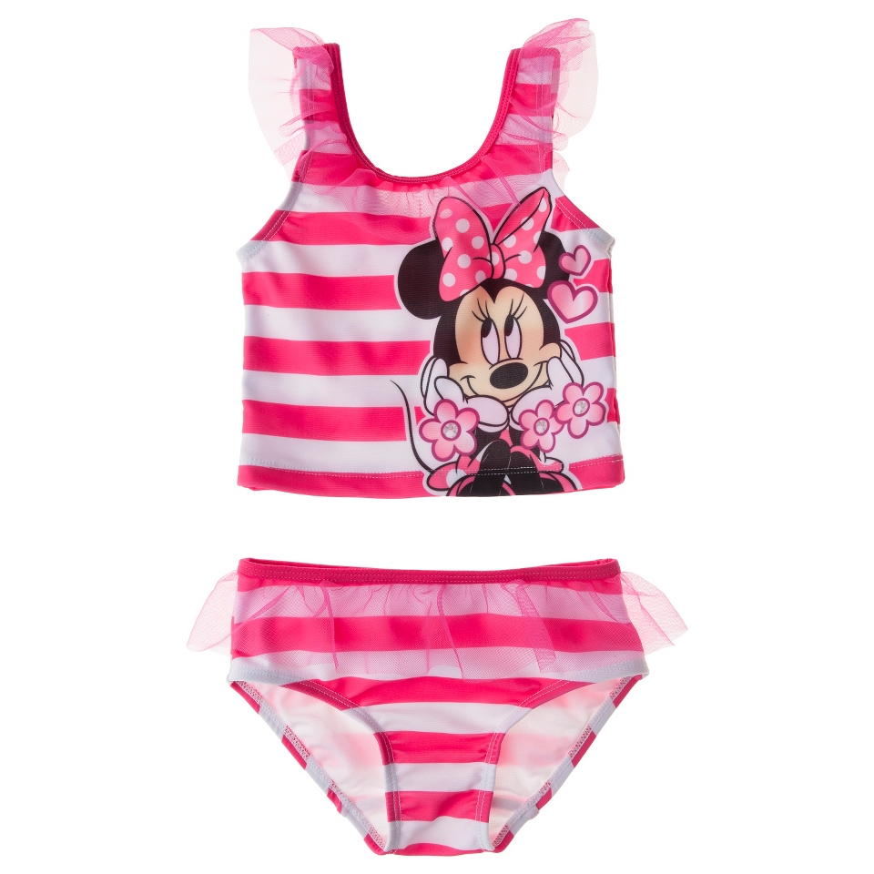 Disney Minnie Mouse Infant Toddler Girls 2 Piece Tankini Swimsuit Set   Pink 3T