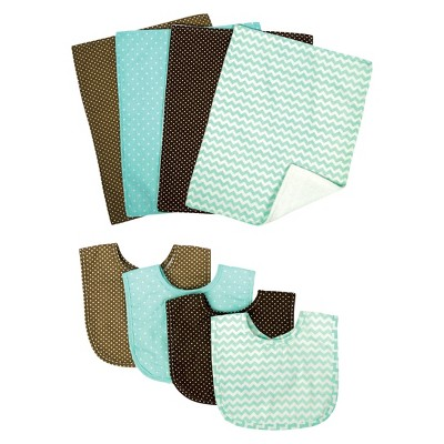Trend Lab 8pc Bib & Burp Cloth Gift Set - Cocoa Mint