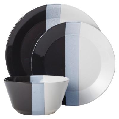 Tri-Band Dinnerware Set 12-pc. Stoneware Black - Room Essentials™