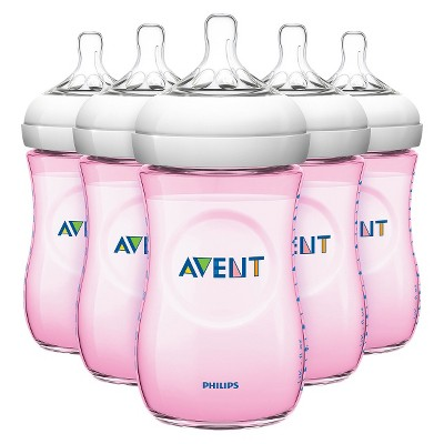 Philips Avent Natural Bottle (Pink)- 9 oz (5 Pack)