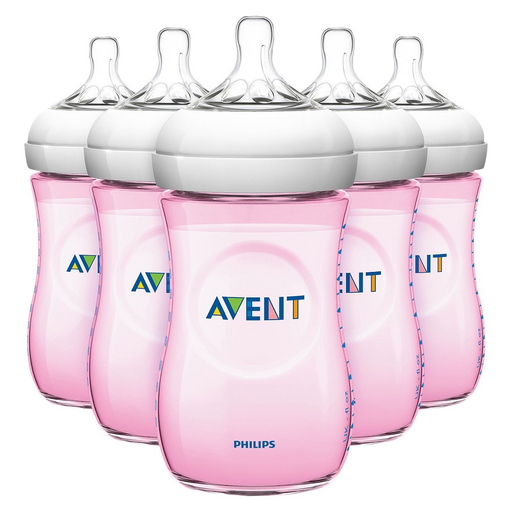 Philips Avent Natural Bottle (Pink) - 9 oz (5 Pack)
