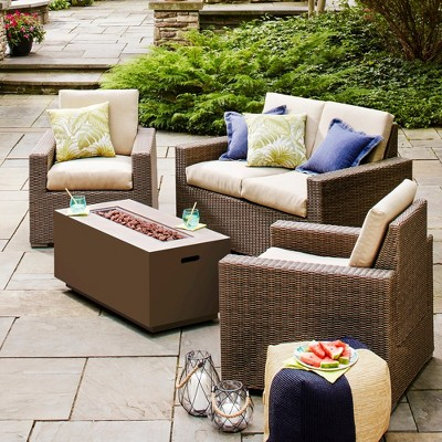 Heatherstone 4 Piece Wicker Patio Conversation Furniture Set   Threshold™