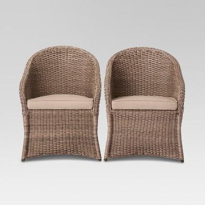 Holden 2 Piece Wicker Patio Dining Chair Set   Threshold™