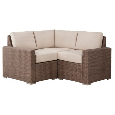 Heatherstone 3 Piece Wicker Patio Sectional Seating Furniture Set ...