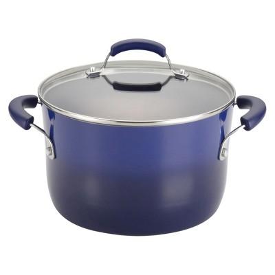 Rachael Ray Hard Enamel Aluminum Nonstick 6-Quart Covered Stockpot, Purple Gradient