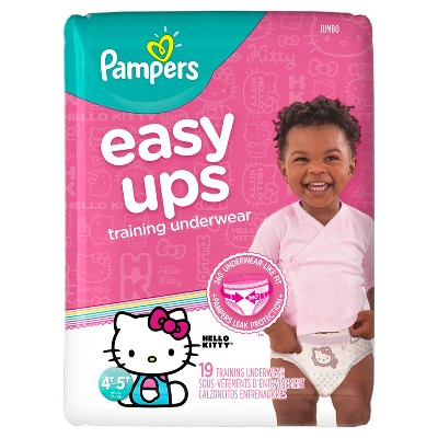 Pampers Easy Ups Girls Training Pants Jumbo Pack, Size 4T-5T (19 ct)