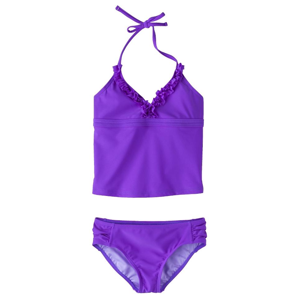 Girls 2 Piece Halter Tankini Swimsuit Set   Purple M