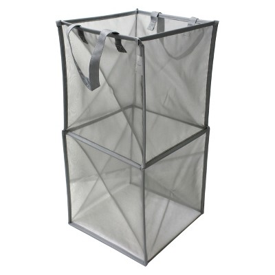Room Essential Mesh Spiral Hamper Grey
