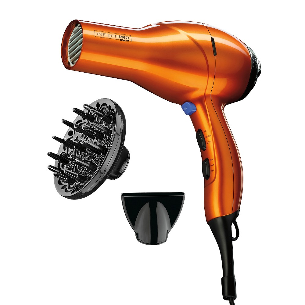 Conair Infiniti Pro AC Motor Hair Dryer Orange Find Hair Styling Tools at Target.com! High performance for salon-quality results. A quiet, lightweight but powerful AC motor ensures fast drying time, which means less heat exposure for hair. Infiniti Pro by Conair, where technology and beauty meet. AC Motor An AC Motor is a high-performance motor designed for hair stylists and salon use. This professional motor is more durable, and provides powerful air velocity for faster drying. Ionic Technology An electronic ionizer generates negative ions, which neutralize positive ions in the atmosphere. The neutralization process flattens and seals the hair cuticle, reducing frizziness and leaving the hair shiny. Ceramic Technology Ceramic is ground up into a powder and added to a high-temperature paint, which is then applied as a coating to the outlet grille. The resulting infrared heat helps to provide uniform heating to safely dry and promote healthy-looking hair. Voted a Best Beauty Buy by InStyle for 2013 Color: Orange. Gender: Unisex. Pattern: Solid.