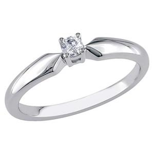 Allura 1/10 CT. T.W. Diamond Solitaire Ring - Silver (6), Women