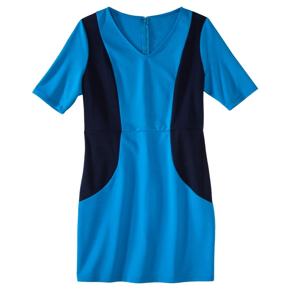 Merona Petites V Neck Colorblock Ponte Dress   Blue/Navy SP