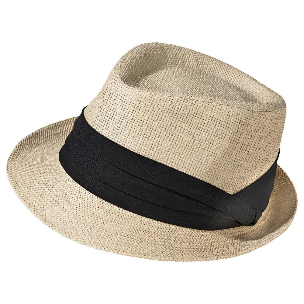 Womens Straw Fedora Hat with Black Sash - Natural - Merona