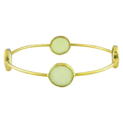 13mm Green Chalcedony Bangle in 22k Gold Plated Brass - Green - image 1 of 1