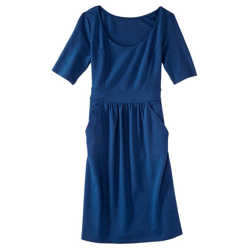 Merona Womens Ponte Elbow Sleeve Dress w/Pockets   Waterloo Blue   XS