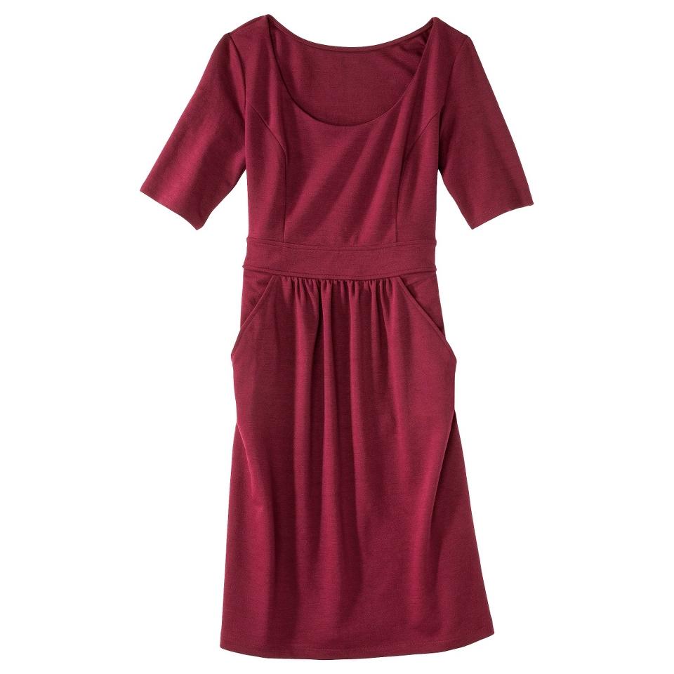 Merona Womens Ponte Elbow Sleeve Dress w/Pockets   Berry Cobbler   S