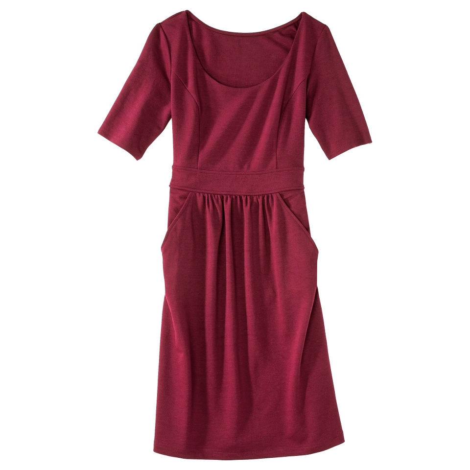 Merona Womens Ponte Elbow Sleeve Dress w/Pockets   Berry Cobbler   XS