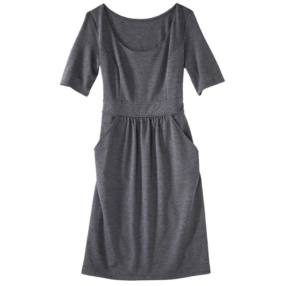 Merona Womens Ponte Elbow Sleeve Dress w/Pockets   Heather Gray   XL