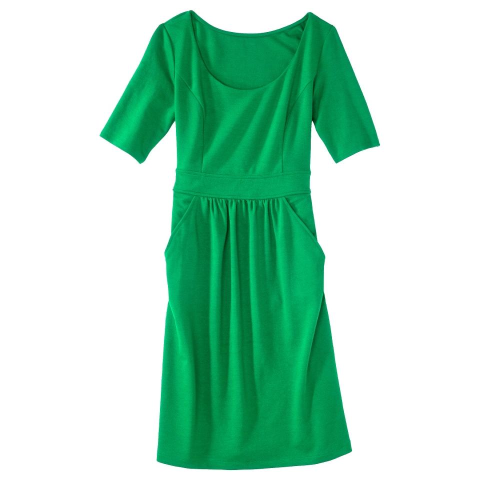 Merona Womens Ponte Elbow Sleeve Dress w/Pockets   Mahal Green   XS