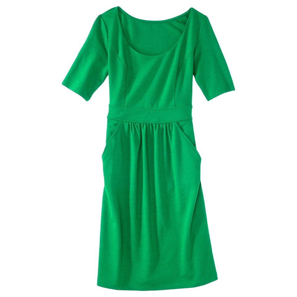 Merona Womens Ponte Elbow Sleeve Dress w/Pockets   Mahal Green   XL