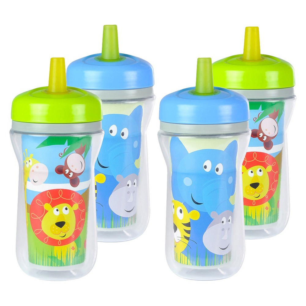 The First Years 4pk Insulated Straw Cup - Animals, Blue