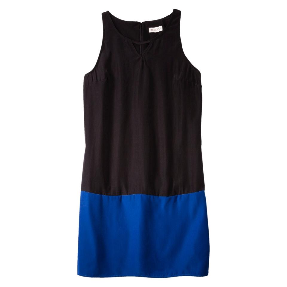 Merona Womens Colorblock Hem Shift Dress   Black/Waterloo Blue   L