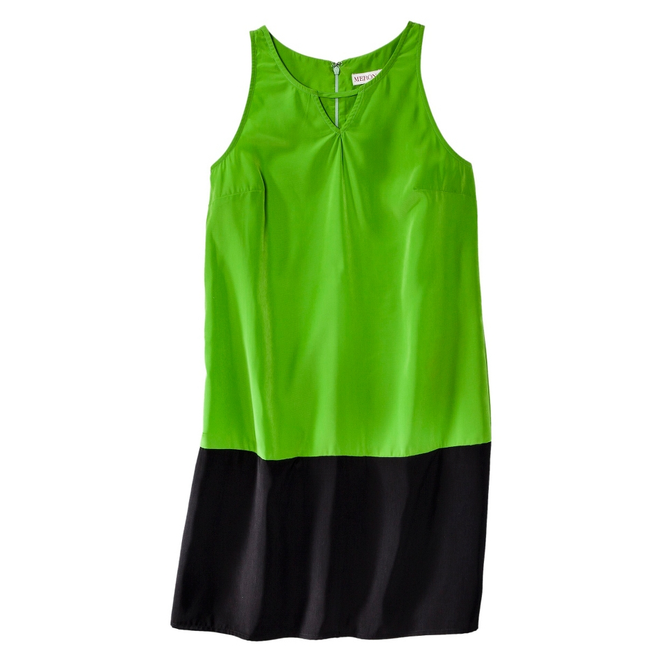 Merona Womens Colorblock Hem Shift Dress   Zuna Green/Black   M