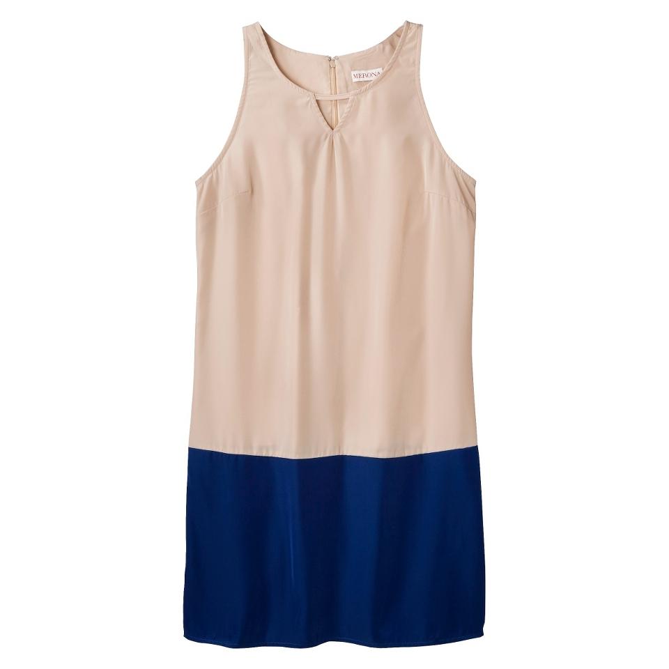 Merona Womens Colorblock Hem Shift Dress   Hamptons Beige/Waterloo Blue   M